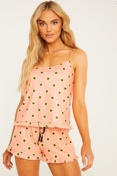 Peach Floral Cami Short Pyjama Set